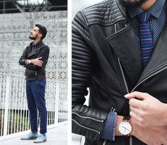 For those cooler days and nights of summer, fitted biker jacket paired with deep blues.