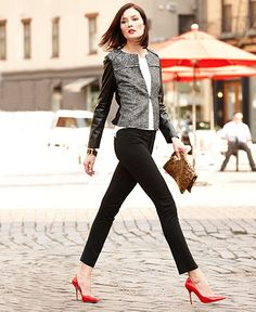 Turn heads with a leather sleeved jacket at a great price point.
