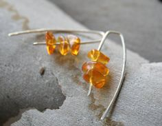 Amber earrings - Natural Golden Yellow Sterling Silver Simple Design Hook Earring Eco friendly