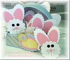 cute bunnies (peppermint patties) for Easter treats! Make with Stampin Up punches.