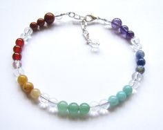 Chakra Jewelry Gemstone Beaded Adjustable Anklet by HeartProjects, $19.95