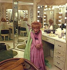 Agnes Moorehead in dressing room