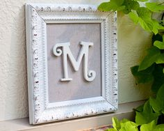 Items similar to Handcrafted Personalized Initial Frame - Shabby Chic - Distressed White on Etsy Shabby Chic Bedrooms, Shabby Chic Homes, Shabby Chic Furniture, Shabby Chic Decor, Frame Crafts, Diy Crafts, Craft Projects, Projects To Try, Picture Frames