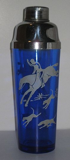 Beautiful Ritz Blue Cocktail Shaker from the Hazel Atlas Glass Co. Sportsman Series, 1938. Hunt Scene aka Tally Ho, depicts horse & rider and several hounds in white. http://www.rubylane.com/item/716911-HA9114/Hazel-Atlas-Ritz-Blue-Hunt