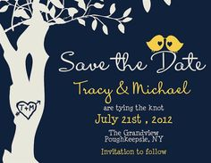 Love birds save the date. Cute design, but not so big on color scheme