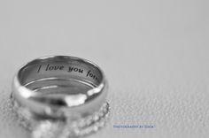 up close ring shot engagement wedding band inscription i love you