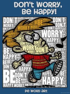 "PE Word Art Poster: ""Don't Worry, Be Happy"""