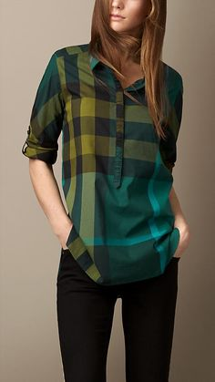 Burberry Check Cotton Tunic in Yellow (bright forest green) Casual Wear, Casual Outfits, Only Shirt, Dark Autumn, Fall Winter, Cotton Tunics, Shirt Blouses, Women's Plaid Shirts, Plaid Shirt Women