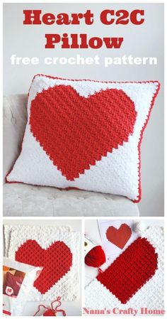 Crochet up some love for your home or a loved one!  This easy, soft, dramatic and trendy pillow works up quickly in bulky yarn.  #nanascraftyhome Crochet Gifts, Easy Crochet, Free Crochet, Crochet Pillow Pattern, Crochet Patterns, Pillow Patterns, Corner To Corner Crochet Pattern, Crochet Projects To Sell, Crochet Home Decor