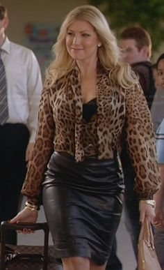 Meredith's leopard print tie front blouse and leather skirt on Bad Teacher.  Outfit Details: http://wornontv.net/31397/ #BadTeacher
