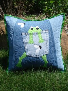 """Pattern for """"Hungry Frog""""  Quilted Pillow made with recycled upcycled denim jeans $10.00, via Etsy. by Back Pocket Design"""