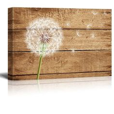 "Amazon.com: Wall26 - Canvas Prints Wall Art - Artistic Abstract Dandelion on Vintage Wood Background - 24"" x 36"": Posters & Prints"