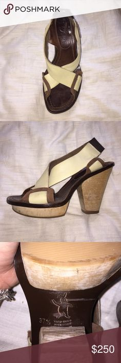 MARNI tan and brown wooden heel pumps. Lightly worn MARNI pumps, no box or bag, but authentic. $250 OBO Marni Shoes Heels