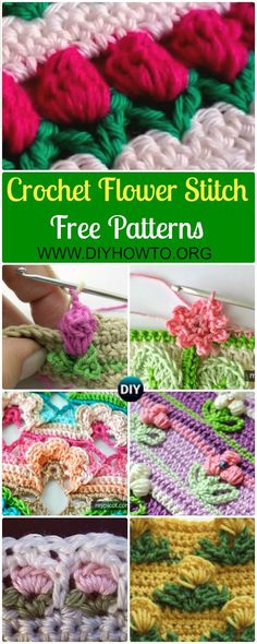 Collection of Crochet Flower Stitch Free Patterns: crochet inline tulip stitch, open work flower stitch, rosebud stitch, and more inline flower pattern via DIYHowTo