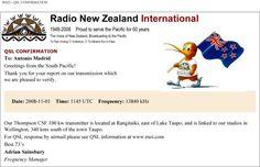 E-QSL de Radio New Zeland