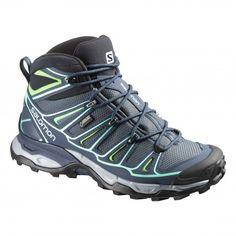 Salomon X Ultra 2 Mid GTX Women's Hiking Boot - Grey Denim/Deep Blue/Lucite Green