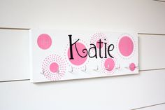 Personalized Medal Holder with Polka Dots Medium by YorkSignShop Painted Letters, Hand Painted, Medal Holders, Picture Hangers, Used Vinyl, Shop Signs, Colorful Backgrounds, Polka Dots, Gift Wrapping