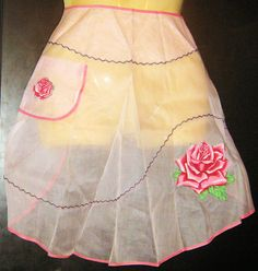 vintage 1950s Apron/ Hand Painted/ Roses/ by PeachburritoVintage, $20.00