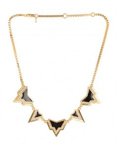 Golden Box Chain Necklace with Black Pendants - $49