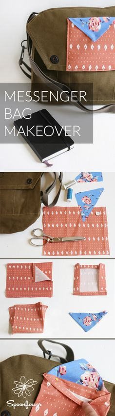Mariah from Everything Golden visits to share a simple vintage army messenger bag update using a mix of custom and vintage fabric scraps. Get the how to and head back to school with a creative book bag to haul your gear! Diy Sewing Projects, Sewing Tutorials, Sewing Diy, Fat Quarter Projects, Kids Inspire, Diy Wardrobe, Pillow Texture, Leftover Fabric, Spoonflower Fabric