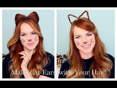 2 Ways to Make Cat Ears with Your Hair!  This is definitely a must if you're being a cat for halloween this year!
