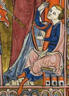 """Detail from """"The Rutland Psalter"""", medieval (c1260), British Library Add MS…"""