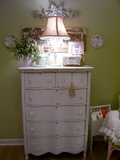 Georgia-from HGTV's Rate My Space. Shabby chic nursery.  I have this exact dresser in my bedroom Its decorated for an adult sas well