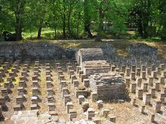Hypocaust in Dion, Greece    Hypocaust is Romans underfloor heating system.  was founded by Philip II Macedonian at Mountain Olymp in Greece.