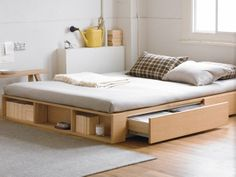 muji bed frame with extra storage great for a bigger kidu0027s room