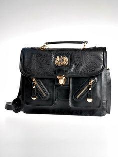 Ćerná kožená kabelka DSUK Luxury