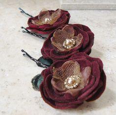 Lyrica Set of 3 Velvet Flower Bobby Pins in Merlot ❤ by Viridian