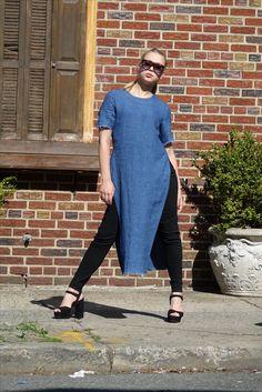Blue Long Linen Tunic