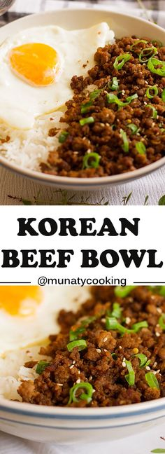 Easy Korean Beef Bowl Recipe - Munaty Cooking - The Best Chinese Recipes Korean Beef Bowl, Korean Bbq Beef, Korean Chicken, Korean Beef Soup Recipe, Korean Bowl Recipe, Korean Rice, Easy Korean Recipes, Asian Recipes, Mexican Food Recipes
