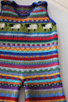 """Inspiration: Funky """"Sheep"""" overalls - size 6 months - hand knitted - by KrazyKnits on madeit. No pattern."""