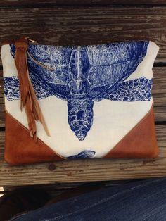 Ocean print, turtle clutch, best selling