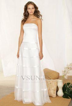 Vestido+de+novia+Glamouroso+Sin+mangas+Cintura+Baja+Sin+tirantes+Corte-A
