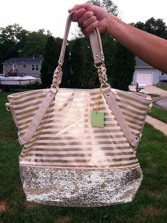 Deux Lux Stripe Gold White Metallic Sequin Handbag Purse Beach Bag Tote