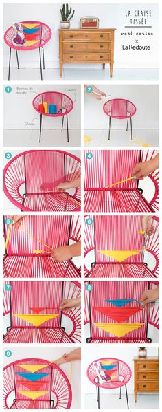 How to beautify your patio chair with colourful string Diy Furniture 2, Furniture Styles, Furniture Making, Furniture Makeover, Furniture Design, Art Shed, Acapulco Chair, Diy Casa, Ideias Diy