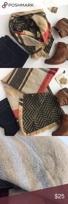 """- PLAID BLANKET STYLE SCARF - Cozy & cute this is two scarves in one! Plaid print on one side chevron on the other! Excellent pre-loved condition, mild pilling and one pull pictured in last photo. Tag missing but I think the fabric is 100% acrylic. Approx. Measurements  Width: 31"""" Length: 80"""" 🛍Bundle & Save 20% on 2+ items! 🙅🏼No trades / selling off of Posh.  ✨Offers always welcome!✨ Accessories Scarves & Wraps"""