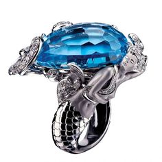 Diamond and Gemstone Mermaid Ring by Magerit