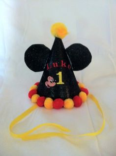Mickey Mouse Birthday Party Hat. $15.00, via Etsy.
