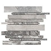 from flooranddecor.com  Silver Fantasy Linear Marble Mosaic. $10
