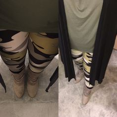 LuLaRoe cammo leggings with army, olive green Irma and black ribbed Joy.