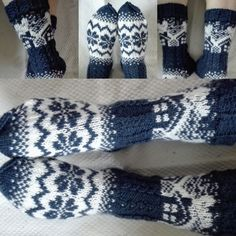 Mökkisukat ja säärystimet appivanhemmille :) | Kodin Kuvalehti Wool Socks, Knitting Socks, Norwegian Knitting, Stocking Tights, Drops Design, Fingerless Gloves, Arm Warmers, Mittens, Ganchillo