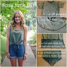 Cool DIY Fashion Ideas   Fun Do It Yourself Fashion projects   Learn how to refashion and sew jeans, T-shirts, skirts, and more   Front Knot Summer Tank   http://diyprojectsforteens.com/cool-diy-fashion-ideas/