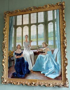 The Hon. Lady Baillie 1899-1974 and her daughters Susan and Pauline  Painted by Adrian 1947