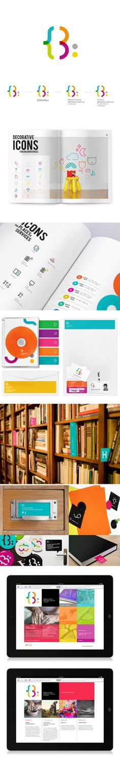 Visual Identity for public libraries - corporate branding identity Crea Design, Graphisches Design, Logo Design, Brand Identity Design, Layout Design, Creative Design, Branding Design, Branding Ideas, Corporate Design