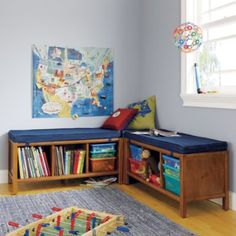 Break your kids' playroom into various activity zones to keep play organized, as well as helping multiple kids use the same playroom easily. Here are our favorite playroom layout ideas. Playroom Layout, Playroom Rug, Playroom Design, Toddler Playroom, Kids Bench, Kids Storage, Soft Blankets, Floor Cushions, Crate And Barrel