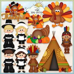 Whimsical Clip Art Download Keywords: Thanksgiving, turkey, cornucopia, pilgrims, Indians, teepee, turkey with a pumpkin, turkey with word art of:
