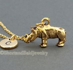 Rhino necklace, antique gold, initial necklace, initial hand stamped, personalized, monogram